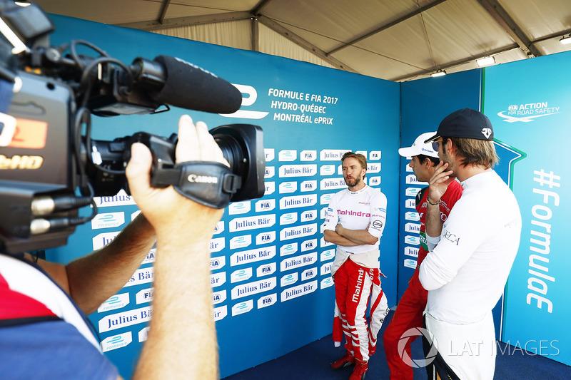 Nick Heidfeld, Mahindra Racing, Lucas di Grassi, ABT Schaeffler Audi Sport, y Jean-Eric Vergne, Techeetah