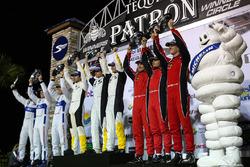 GTLM podium: winners Antonio Garcia, Jan Magnussen, Mike Rockenfeller, Corvette Racing, second place Joey Hand, Dirk Müller, Sébastien Bourdais, Ford Performance Chip Ganassi Racing, third place Toni Vilander, Giancarlo Fisichella, James Calado, Risi Compe