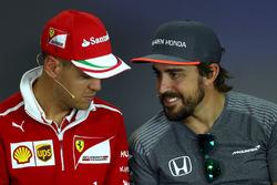 Sebastian Vettel, Ferrari and Fernando Alonso, McLaren in the Press Conference