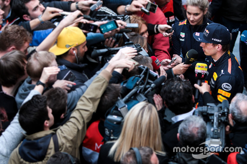 Max Verstappen, Red Bull Racing RB13 with the media