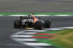 Sparks fly from Fernando Alonso, McLaren MCL32