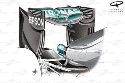 Mercedes F1 W07 'Spoon' rear wing