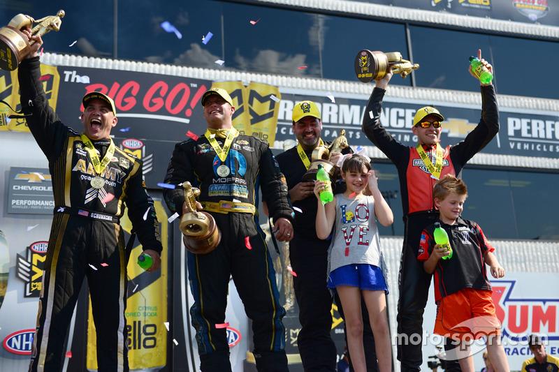 Top Fuel winner Tony Schumacher, Pro Stock winner Chris McGaha, Funny Car winner Matt Hagan, Pro Sto
