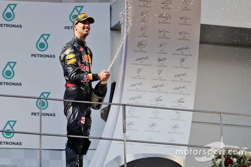 Race winner Daniel Ricciardo, Red Bull Racing celebrates on the podium