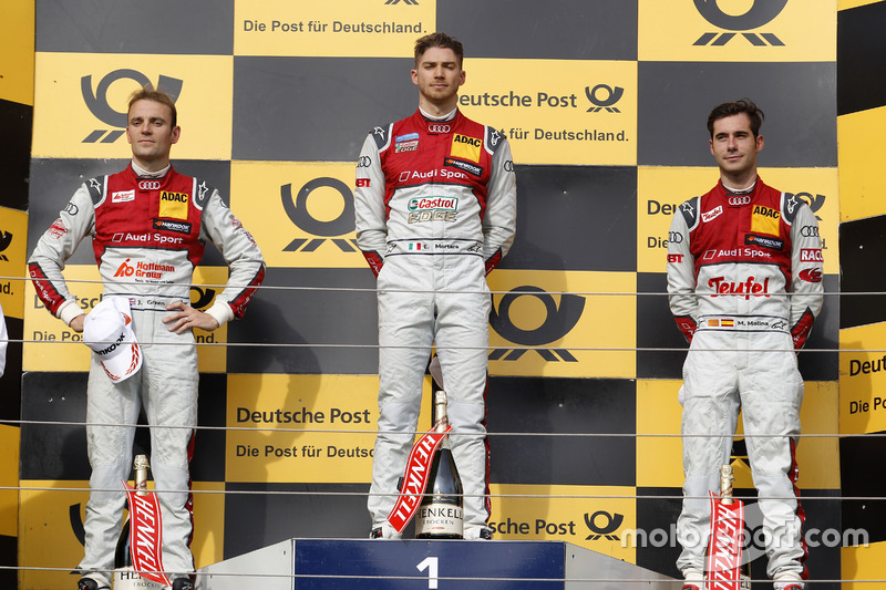 Podium nach Rennen 1: Edoardo Mortara, Jamie Green, Miguel Molina