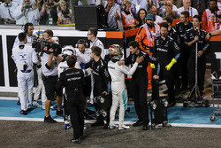 Lewis Hamilton, Mercedes AMG F1 and Valtteri Bottas, Mercedes AMG F1 celebrate in parc ferme