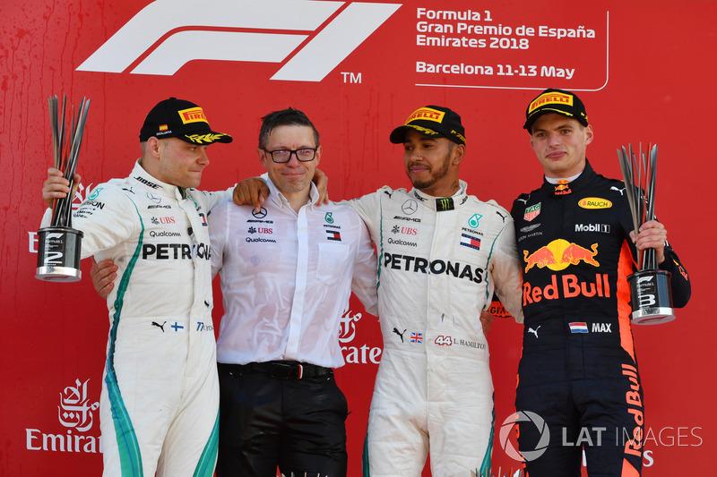 2018: 1. Lewis Hamilton, 2. Valtteri Bottas, 3. Max Verstappen