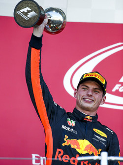 Max Verstappen, Red Bull, second place, lifts his trophy