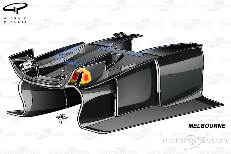 Red Bull RB13: Luftführung unter dem Chassis, GP Australien