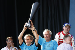 Alain Prost, Jean Todt and Jean Paul Driot celebrate on the podium