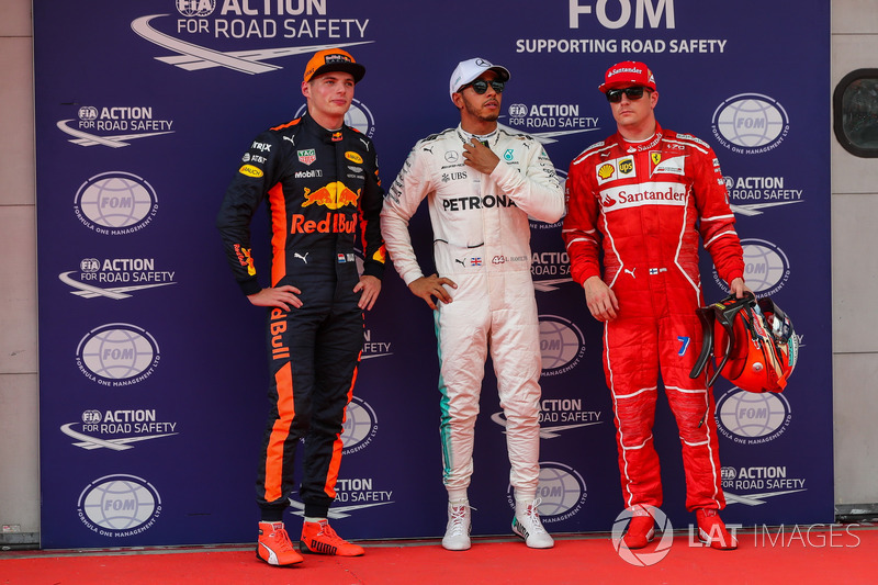 Pole sitter Lewis Hamilton, Mercedes AMG F1 in parc ferme alongside Max Verstappen, Red Bull Racing and Kimi Raikkonen, Ferrari