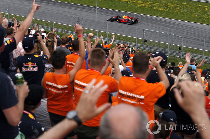 Max Verstappen, Red Bull Racing RB13 passes his fans in the grandstand