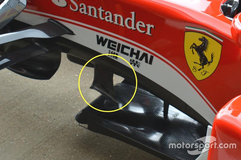Ferrari SF16-H: Finnen unterhalb des Chassis