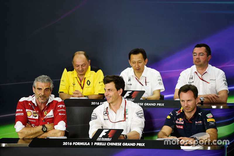 Press conference: Frederic Vasseur, Renault Sport F1 Team Racing Director, Yusuke Hasegawa, Head of Honda F1 Programme, Eric Boullier, McLaren Racing Director, Eric Boullier, McLaren Racing Director, Maurizio Arrivabene, Ferrari Team Principal, Toto Wolff, Mercedes GP Executive Director and Christian Horner, Red Bull Racing Team Principal