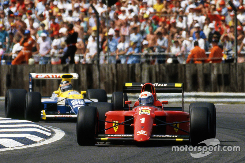 Alain Prost, Ferrari leads Thierry Boutsen, Williams
