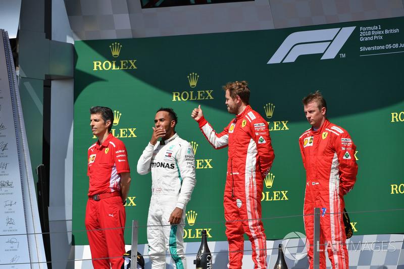Grande-Bretagne - Podium : Sebastian Vettel, Lewis Hamilton, Kimi Räikkönen