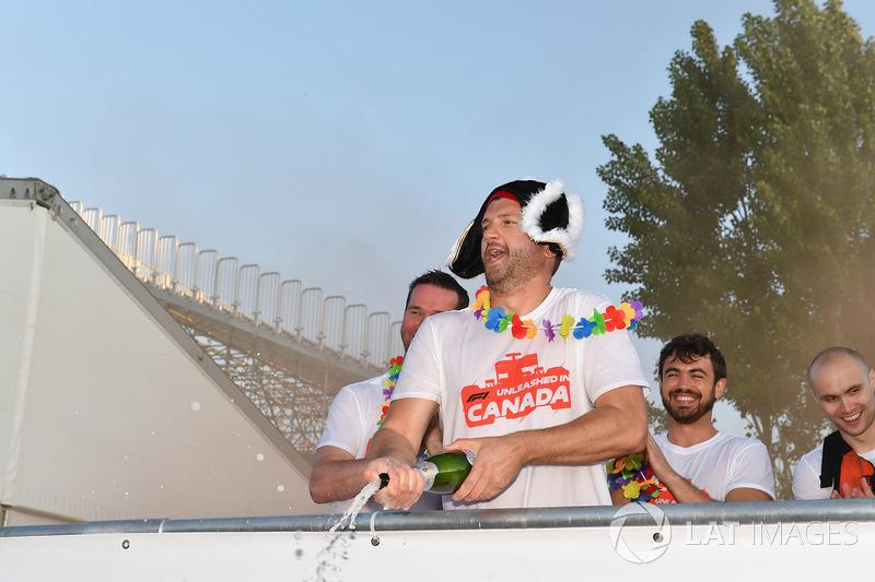 Podium celebrations at the raft race