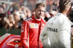 Sebastian Vettel, Ferrari and Lewis Hamilton, Mercedes AMG F1 en Parc Ferme