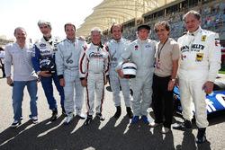 Jacques Villeneuve, Damon Hill, presidente de BRDC; Nigel Mansell, Mario Andretti, Emerson Fittipald