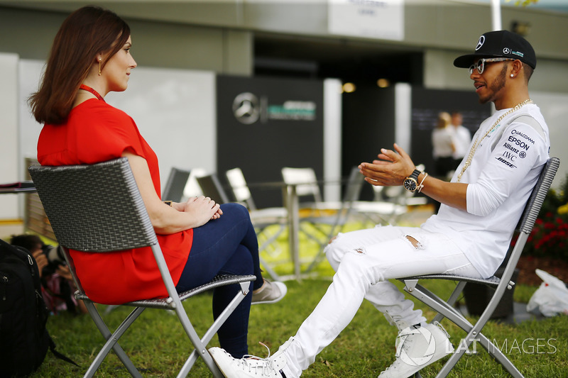 Lewis Hamilton, Mercedes AMG with Lee McKenzie