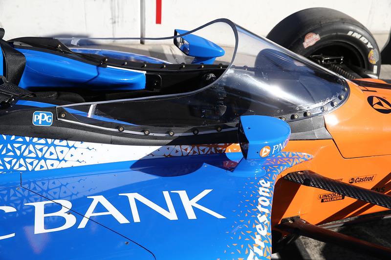 El aeroscreen del coche de Scott Dixon, Chip Ganassi Racing Honda