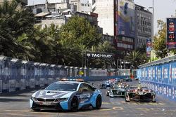 Pack follows the safety car. Jean-Eric Vergne, Techeetah Nelson Piquet Jr., Jaguar Racing, Andre Lotterer, Techeetah