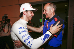 Pierre Gasly, Toro Rosso, and Franz Tost, Team Principal, Toro Rosso, celebrate a 4th place finish