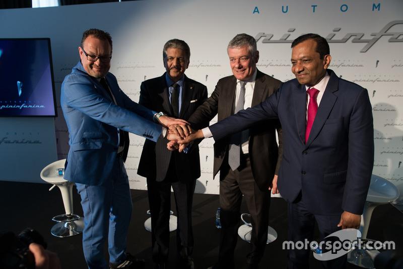 Michael Perschke, CEO, Automobili Pininfarina,  Anand Mahindra, Chairman, Mahindra Group, Paolo Pininfarina, Chairman, Pininfarina SpA and Dr. Pawan Goenka, Managing Director, Mahindra & Mahindra Ltd. and Chairman, Mahindra Racing