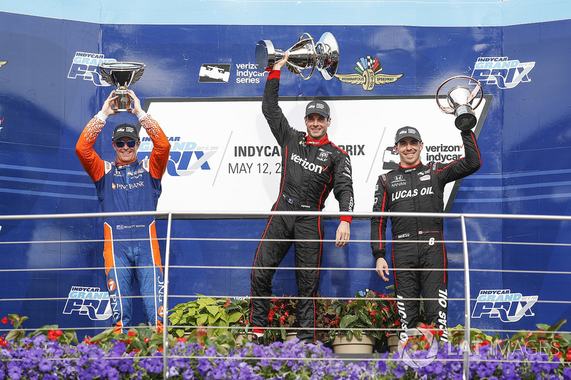 Scott Dixon, Chip Ganassi Racing Honda, Will Power, Team Penske Chevrolet, Robert Wickens, Schmidt Peterson Motorsports Honda, podio