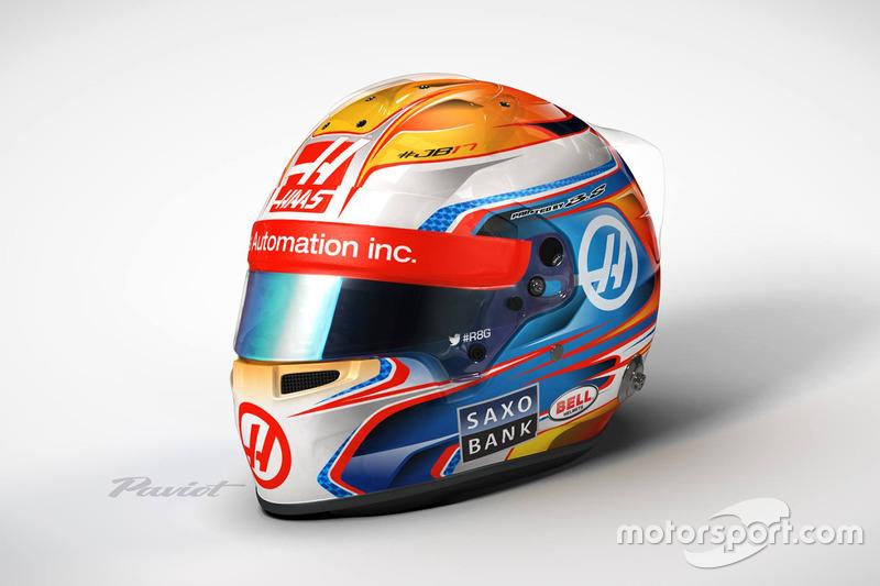Capacete de Romain Grosjean, Haas F1 Team