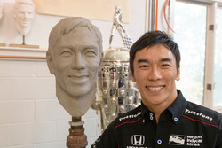 Takuma Sato sitting for Borg-Warner Trophy bust