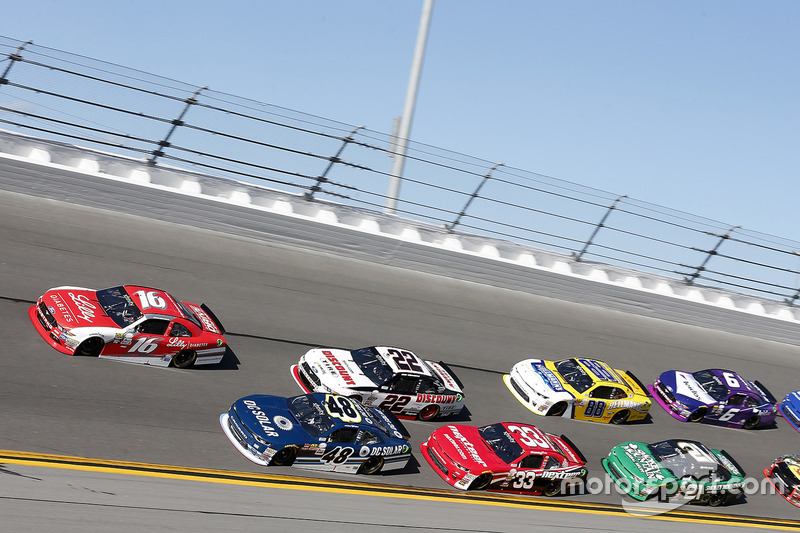 Ryan Reed, Roush Fenway Racing, Ford; Brennan Poole, Chip Ganassi Racing, Chevrolet; Brad Keselowski, Team Penske, Ford
