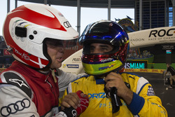 Champion of Champions Juan Pablo Montoya, celebrates his win with runner up Tom Kristensen,