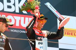 Podium: Race winner Marco Melandri, Ducati Team