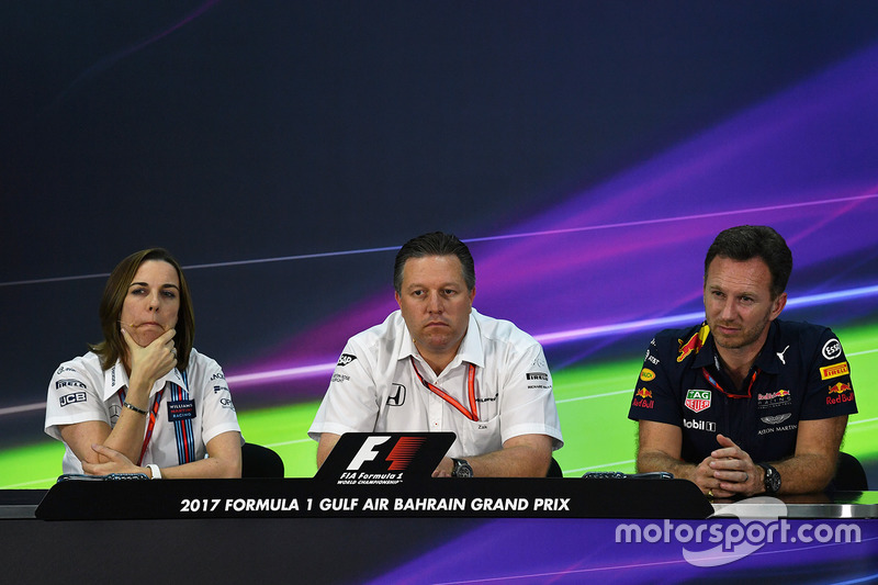 Claire Williams, Williams Deputy Team Principal, Zak Brown, McLaren Executive Director and Christian Horner, Red Bull Racing Team Principal in the Press Conference