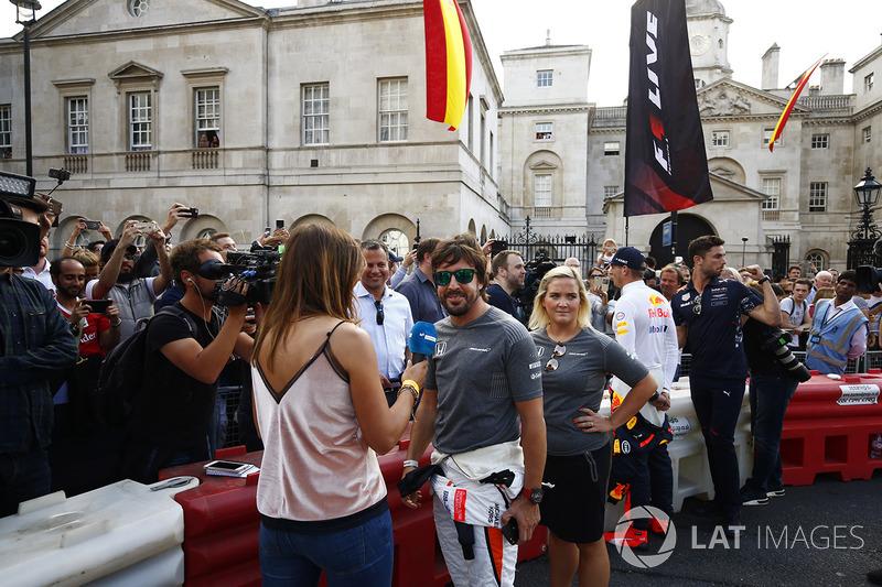 Fernando Alonso, McLaren, is interviewed