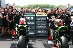 Race winner Jonathan Rea, Kawasaki Racing, second place Tom Sykes, Kawasaki Racing celebrate 100 Kawasaki Racing WSBK wins