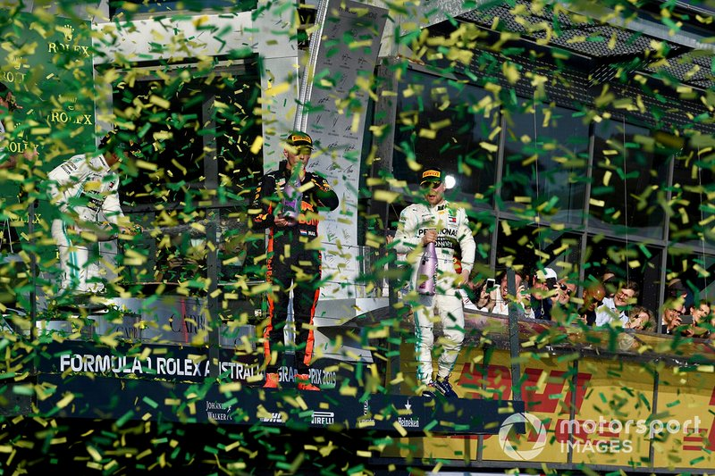 Podium: race winner, Valtteri Bottas, Mercedes AMG F1, second place Lewis Hamilton, Mercedes AMG F1 and third place Max Verstappen, Red Bull Racing celebrate