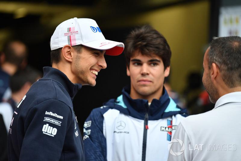 Esteban Ocon, Racing Point Force India F1 Team y Lance Stroll, Williams Racing