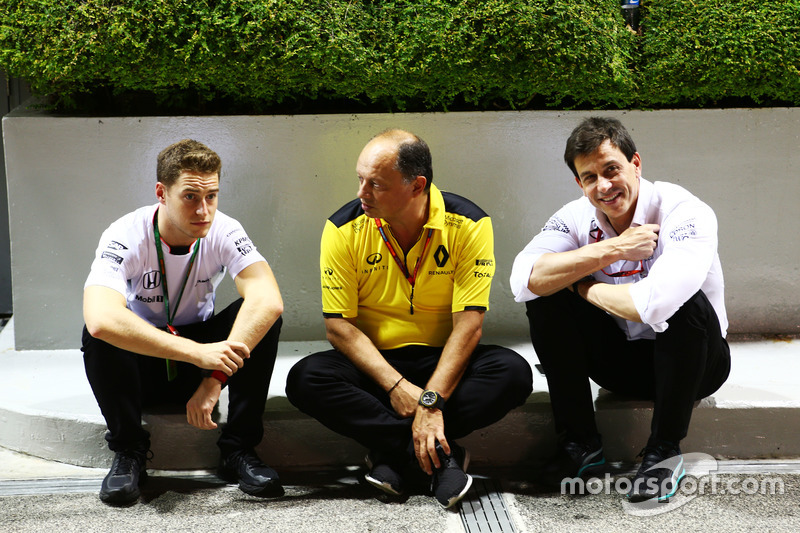 (L to R): Stoffel Vandoorne, McLaren Test and Reserve Driver with Frederic Vasseur, Renault Sport F1 Team Racing Director and Toto Wolff, Mercedes AMG F1 Shareholder and Executive Director