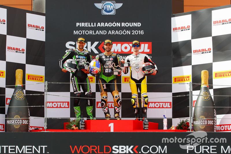 Podium : second place Randy Krummenacher, Puccetti Racing Kawasaki, winner Kenan Sofuoglu, Puccetti Racing Kawasaki, third place Nicolas Terol, MV Agusta