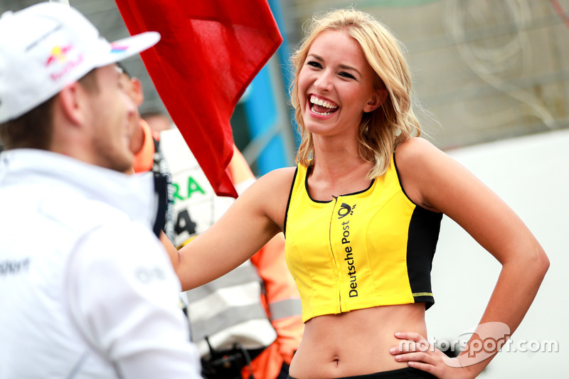 Grid girl with Marco Wittmann, BMW Team RMG, BMW M4 DTM