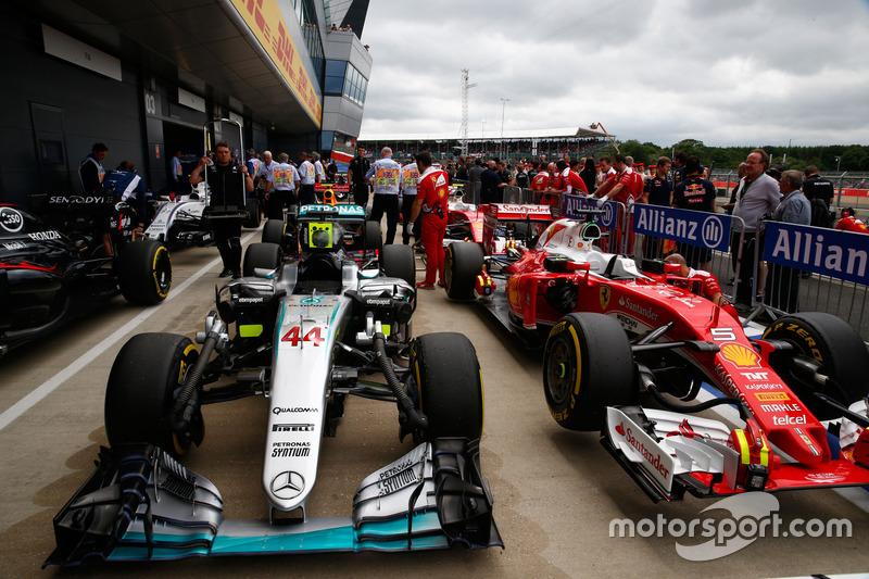 The car of Lewis Hamilton, Mercedes AMG F1 in parc ferme