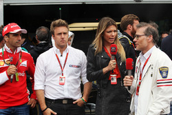 (L to R): Marc Gene, Ferrari Test Driver with Davide Valsecchi, Sky F1 Italia Presenter, Federica Masolin, Sky F1 Italia Presenter, and Jacques Villeneuve