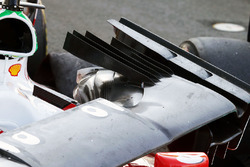 The damaged nosecone of race retiree Sebastian Vettel, Ferrari SF16-H