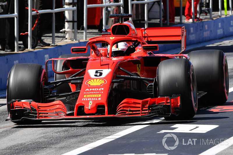 Sebastian Vettel, Ferrari SF71H gives a V sign