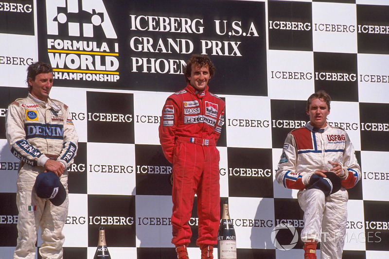 Podium: race winner Alain Prost, second place Riccardo Patrese, third place Eddie Cheever