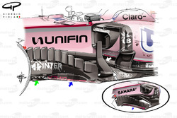 Force India VJM10 bargeboard, GP van Mexico