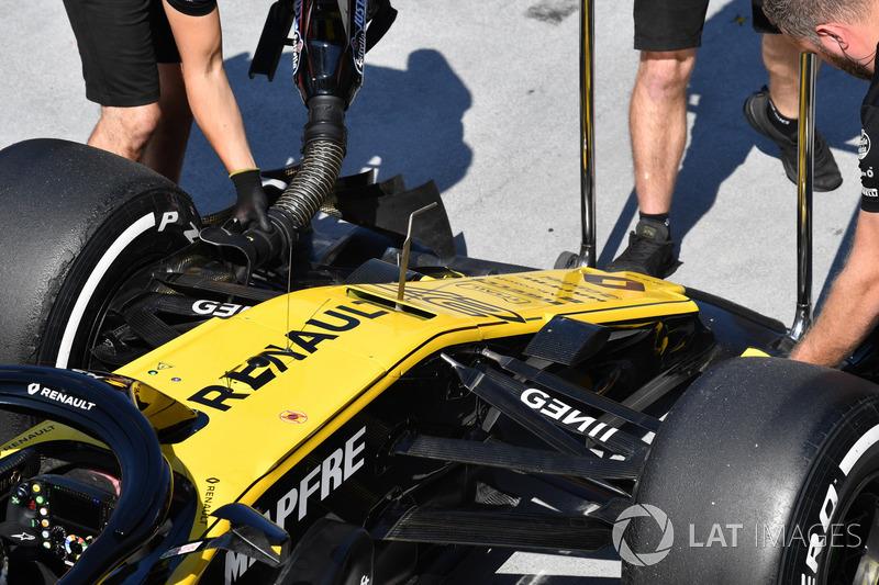 El morro del RS18 de Nico Hulkenberg, Renault Sport F1 Team