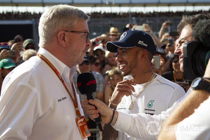 Ross Brawn, Formula One Managing Director del Motorsport e Lewis Hamilton, Mercedes-AMG F1